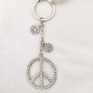 Cache | Rhinestone Peace Sign Key Chain